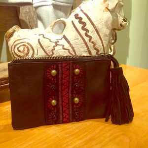 Coolest lucky brand wristlet with HUGE TASSEL!